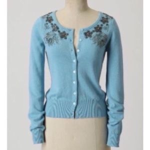 Anthro knitted & knotted beaded cardigan sweater